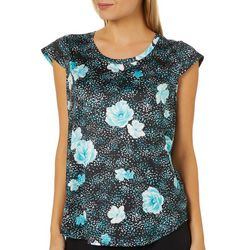 Nue Options Womens Dotted Floral Cap Sleeve Top