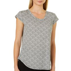 Nue Options Womens Geo Checkered Cap Sleeve Top