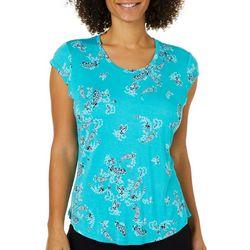 Nue Options Womens Paisley Print Cap Sleeve Top