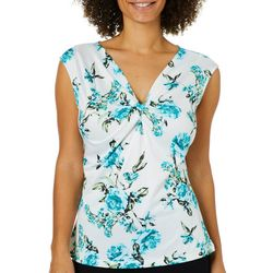 Nue Options Womens Floral Print Twist Neck Top