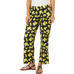 Nue Options Womens High Rise Lemon Print Wide Leg Pants