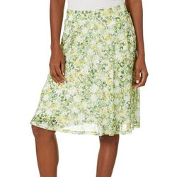 Nue Options Womens Floral Mesh Pull On Skirt