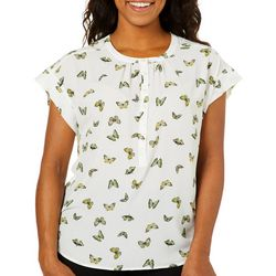Nue Options Womens Butterfly Print Button Placket Top