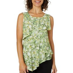 Nue Options Womens Garden Print Tiered Mesh Sleeveless Top