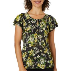 Nue Options Womens Ruffled Floral Print Keyhole Top
