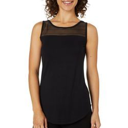 Nue Options Womens Burnout Yoke Sleeveless Top