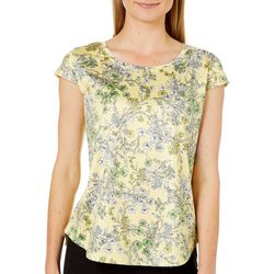 Nue Options Womens Floral Garden Day To Night Cap Sleeve Top
