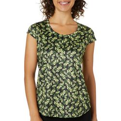Nue Options Womens Ditzy Floral Cap Sleeve Top