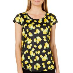 Nue Options Womens  Lemon Print Day To Night Cap Sleeve Top