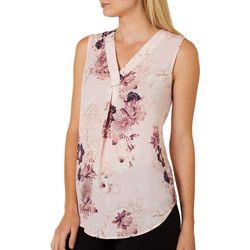Nue Options Womens Feminine Botanical Print Sleeveless Top