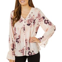 Nue Options Womens Floral Print Button Down Long Sleeve Top