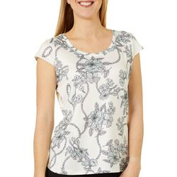 Nue Options Womens Day to Night Floral Chain Print Top