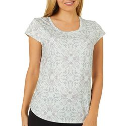 Nue Options Womens Day to Night Scroll Print Cap Sleeve Top