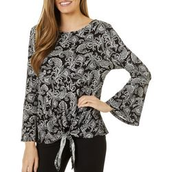 Nue Options Womens Paisley Print Tie Front Long Sleeve Top