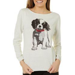 Nue Options Womens Dog Print Jeweled Long Sleeve Sweater