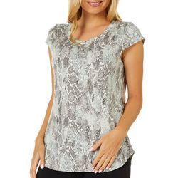 Nue Options Womens Day to Night Snake Print Cap Sleeve Top