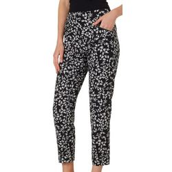 Nue Options Womens Floral Zip Pocket Pull On Pants