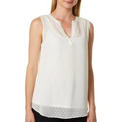 Nue Options Womens Clip Dot High-Low Sleeveless Top