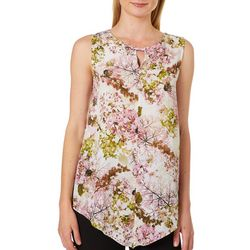 Nue Options Womens Floral Strap Keyhole Sleeveless Top