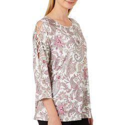 Nue Options Womens Paisley Print Criss-Cross Shoulder Top