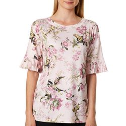 Nue Options Womens Floral Print Pleated Sleeve Top