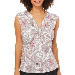 Nue Options Womens Floral Paisley Twist Neck Top