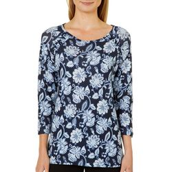 Nue Options Womens Bogota Floral Lace-Up Top