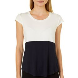 Nue Options Womens Colorblock Cap Sleeve Top