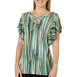 Nue Options Womens Striped Caged Neck Flutter Sleeve Top