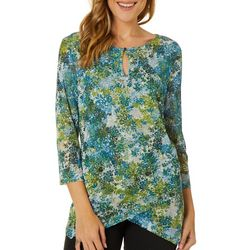 Nue Options Womens Mesh Leaf Print Keyhole Neck Top