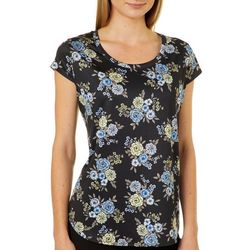 Nue Options Womens Floral Bouquet Cap Sleeve Top