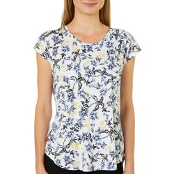 Nue Options Womens Floral Garden Cap Sleeve Top