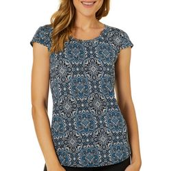 Nue Options Womens Medallion Day To Night Cap Sleeve Top