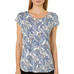 Nue Options Womens Paisley Floral Cap Sleeve Top