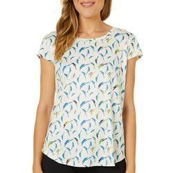 Nue Options Womens Brushstroke Print Cap Sleeve Top