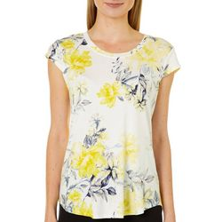 Nue Options Womens Blooming Floral Cap Sleeve Top