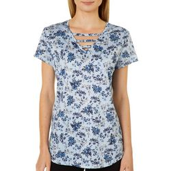 Nue Options Womens Floral Frenzy Ladder Neck Top