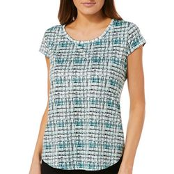 Nue Options Womens Watercolor Grid Cap Sleeve Top