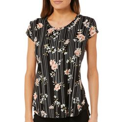 Nue Options Womens Floral Striped Cap Sleeve Top