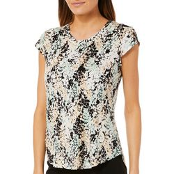 Nue Options Womens Abstract Leaf Cap Sleeve Top