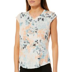 Nue Options Womens Floral Field Cap Sleeve Top