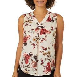 Nue Options Womens Botanical Print Sleeveless Top
