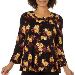 Nue Options Womens Floral Print Lace Up Neckline Top