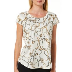 Nue Options Womens Day to Night Chain Print Cap Sleeve Top