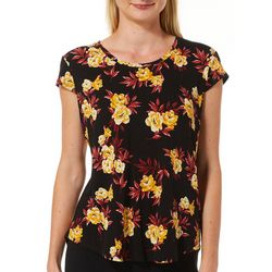 Nue Options Womens Day to Night Garden Floral Cap Sleeve Top