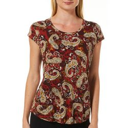 Nue Options Womens Day to Night Paisley Print Cap Sleeve Top