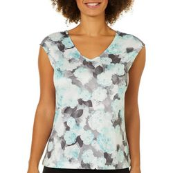 Nue Options Womens Faded Floral Crisscross Back Top