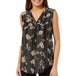 Nue Options Womens Floral Striped Sleeveless Top