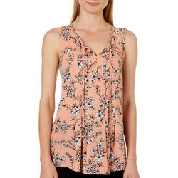 Nue Options Womens Cartagena Floral Tie Neck Sleeveless Top