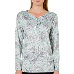 Nue Options Womens Cartagena Floral Print Lace-Up Top